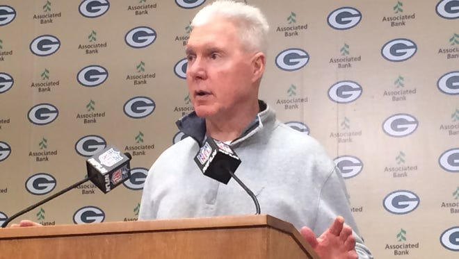 Packers general manager Ted Thompson speaks to the media at Lambeau Field.