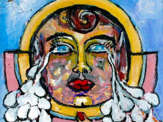"Cathy Hayes, ""Tears of the World."" Mixed media on paper,"