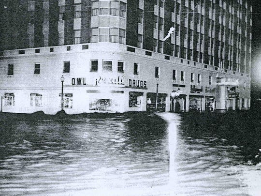 "An original tenant in the Mapes Hotel was a Rexall Drug on the building's corner, its sign prominent in the ""Reno Flood 1950"" softcover book."