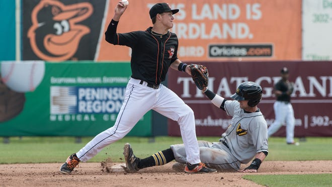 Delmarva Shorebirds' Ryan Mountcastle throws to first after tagging West Virginia Power's Tyler Filliben on Wednesday, May 18, 2016.
