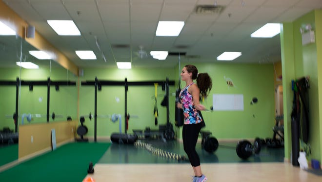Miss New Jersey Brenna Weick jumps rope as part of her workout at Training Aspects Tuesday in Voorhees.