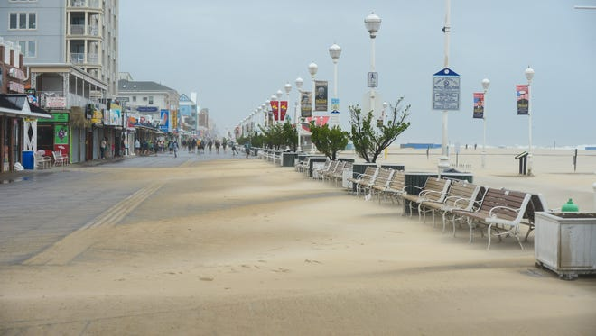 Tropical Storm Hermine is brining the Ocean City boardwalk strong winds and large waves. During this Labor day weekend, Sept. 3, 2016.