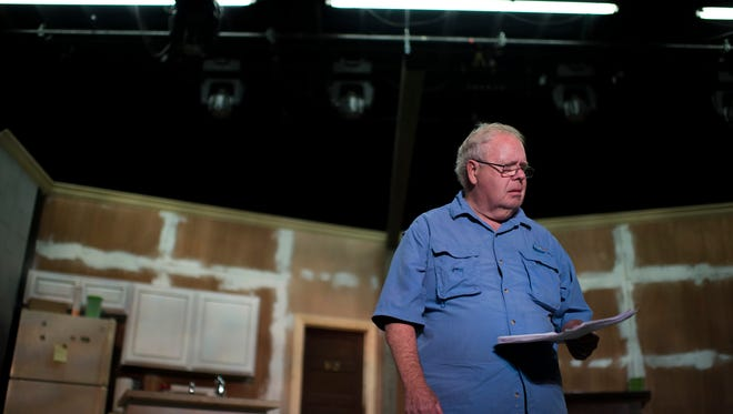 Actor Tom McCarthy rehearses a scene from The King of East Jabip Tuesday, Aug. 23 at the Eagle Theatre in Hammonton.