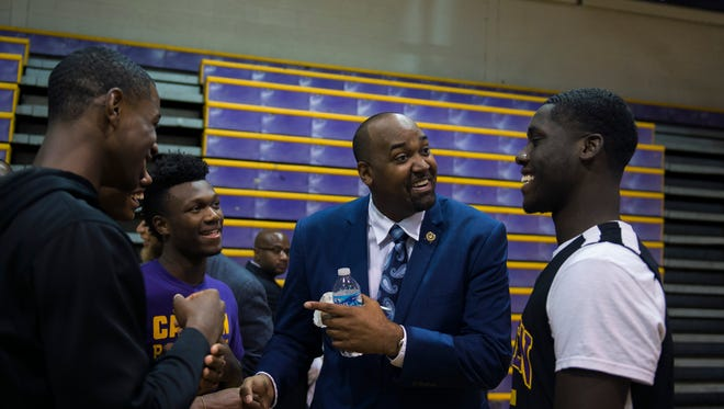Assemblyman Arthur Barclay, shown talking to Camden High School students in this 2016 photo, was arrested and charged with simple assault stemming from a June 7 domestic incident.