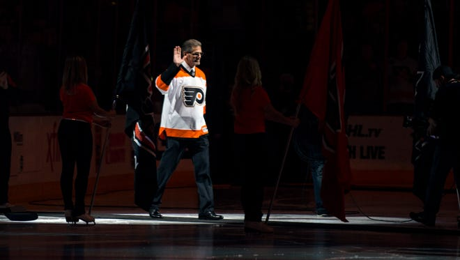 Flyers general manager Ron Hextall was among the team's Hall of Fame members honored before the game Thursday, Oct. 27 in Philadelphia.