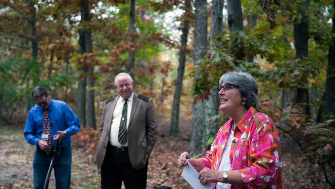 Jane Galetto speaks during the unveiling of the Tranquility Trail at The Guidance Center Thursday, Nov. 3 in Millville.