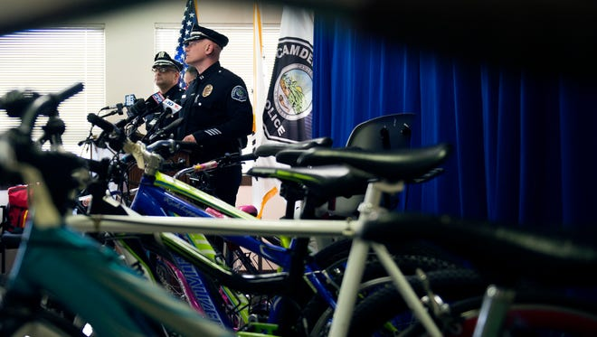 Capt. Richard Verticelli speaks during a press conference about stolen bikes recovered from a Camden grocery store.