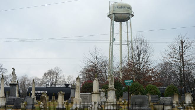 The Frankford Water Tower is shown on Thursday, Dec. 29, 2016. A few months ago, Frankford municipal officials noticed that water use in the tiny, central Sussex County town suddenly dropped by a third.