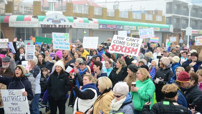 The Democratic Women's Club of Worcester County held a Women's March Sister March on the boardwalk in Ocean City, Md. on Saturday, Jan 21, 2017.