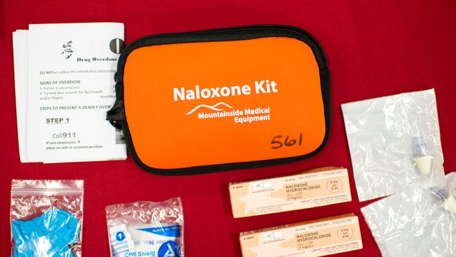 An example of a kit to be used for an overdose.