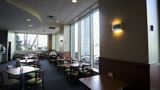 The dining area of Home Stretch Deli & Market inside the Delaware River Port Authority building in Camden.
