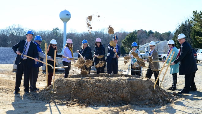 Members of the Cape Henlopen School district break ground on the new H.O Brittingham Elementary School in Milton, Del., on Thursday, March 23, 2017.