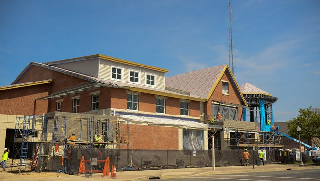 Rehoboth City Hall continues construction on Wednesday, April 12, 2017.