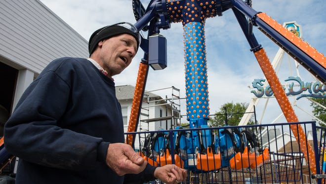 Randy Curry talks about Funland's newest ride the Super Flip 360 at their Rehoboth Beach amusement park on Wednesday, April 19, 2017. The Italian designed ride is Funland's first new ride in eight years, and performs a pendulum motion while spinning upside down.