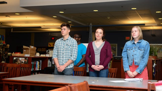 Sussex Central's Mock trial team prepares for the National Mock Trial championships on Wednesday, May 3, 2017.