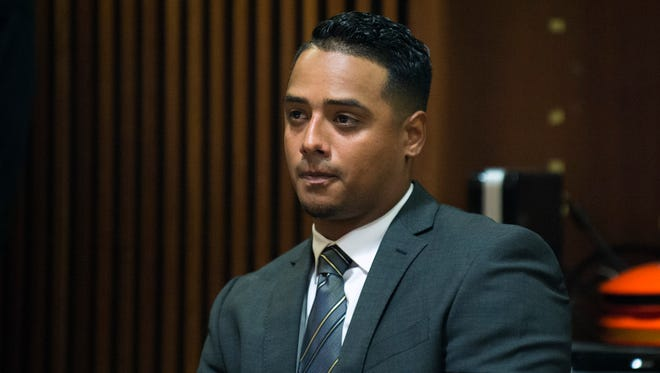 Justin Rodriguez, 26, appears in court for a sentence hearing Friday, June 30, 2017 at the Burlington County Courthouse in Mount Holly. Rodriguez recently pleaded guilty to vehicular homicide and driving under the influence in the death of 27-year-old Ariana Williams Sept. 23, 2016.
