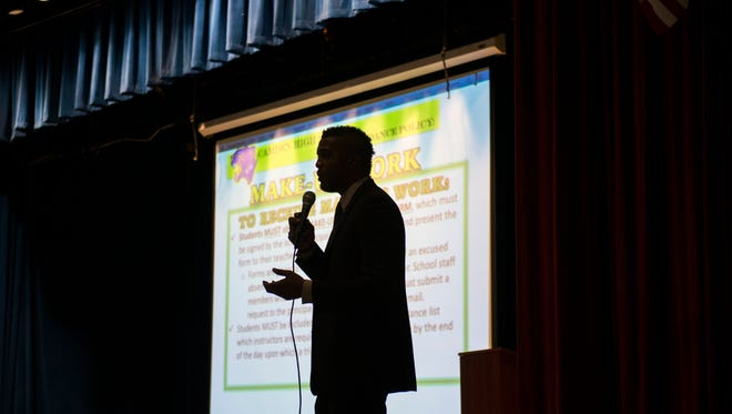 Camden High School principal Alex Jones speaks to students and parents inside Hatch Middle School Tuesday, Aug. 29, 2017 in Camden. Hatch is the temporary home for Camden High students.