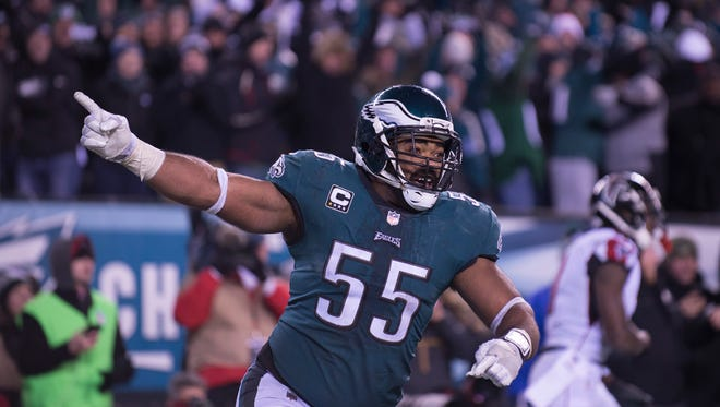Eagles' Brandon Graham (55) rallies the fans as they close in on a win over the Atlanta Falcons during a divisional playoff game Saturday, Jan. 13, 2018 in Philadelphia. Eagles won 15-10.