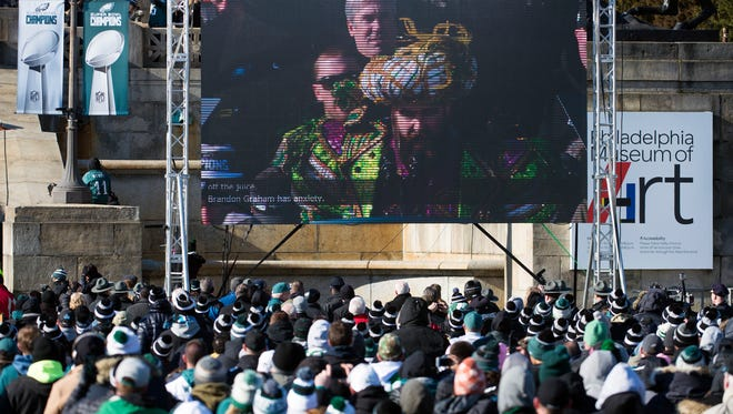 Eagles' Jason Kelce is seen on the jumbotron speaking from the Museum of Art stairs following an Eagles Super Bowl Championship parade Thursday, Feb. 8, 2018 in Philadelphia.