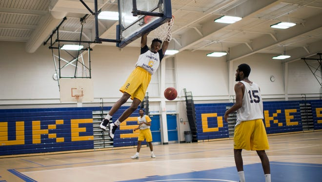 Cumberland County College's Haashim Wallace dunks during practice Thursday, March 1, 2018 on Campus in Vineland, N.J.