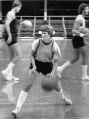 Ann Meyers during tryouts for the 1979 Pacers at Hinkle Fieldhouse.