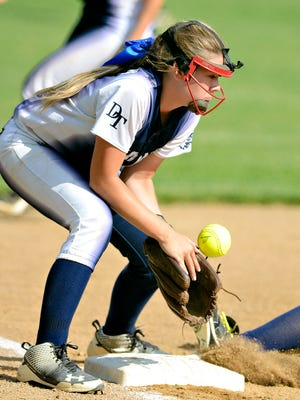 Dallastown's Kelsie Merriman, seen here in a file photo, got the win on the mound Monday against Red Lion.