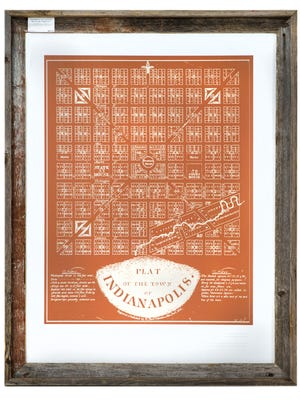 Framed plat of Indianapolis print on Wednesday, Nov. 8, 2017.