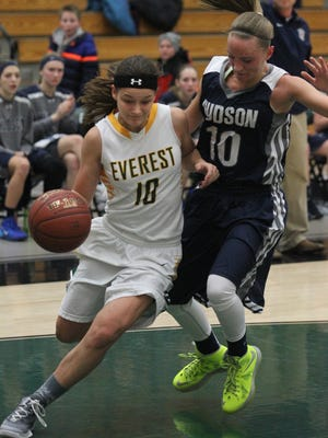 D.C. Everest's Taylor Petit drives for a basket against Hudson earlier this season. The Evergreens received a No. 1 seed in Division 1 for the WIAA girls basketball playoffs.
