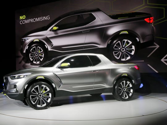 The Hyundai Santa Cruz crossover truck concept is unveiled during the North American International Auto Show