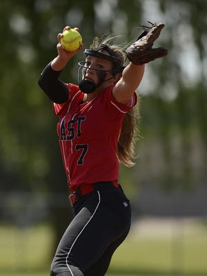Green Bay East's Jaida Reynen (7) gets ready to fire a pitch against Green Bay Southwest during their WIAA Division 1 regional.