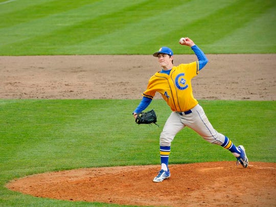 St. Cloud Cathedral's Jeff Fasching pitches against Blake in the state Class 2A quarterfinals in 2014 in St. Cloud. Fasching was a two-time St. Cloud Times Player of the Year, finishing his prep career with a 28-1 record.