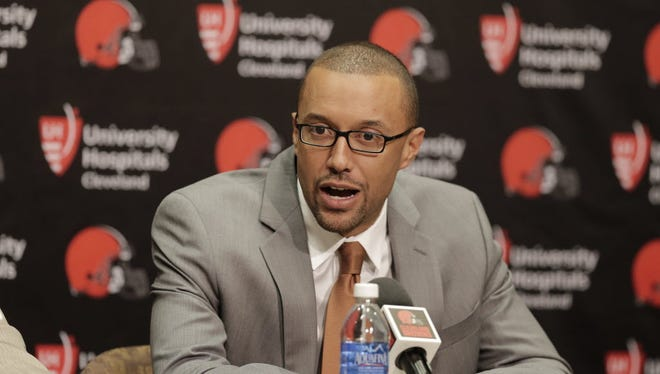Sashi Brown, executive VP for football operations at the Cleveland Browns, at a news conference in Berea, Ohio, Jan. 13, 2016.