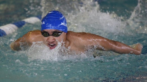 Zach Valenzuela swims for Wayne Valley during the Passaic County Swimming Championship on January 9, 2016.