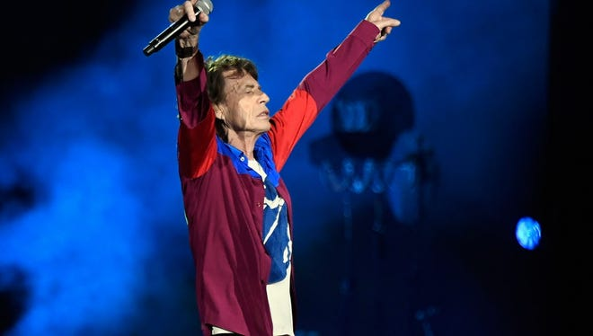 Mick Jagger performs onstage during Desert Trip on Oct. 7.