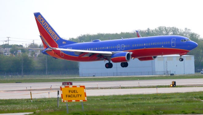 A Southwest Airlines Boeing 737 is shown just prior to landing this summer at Milwaukee's Mitchell International Airport.
