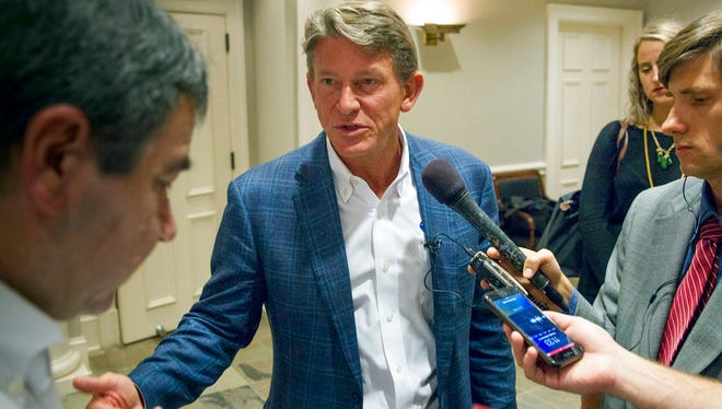 Businessman Randy Boyd speaks to reporters after a gubernatorial forum hosted by the Tennessee Business Roundtable in Nashville on Sept. 12, 2017.