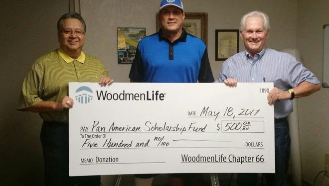 San Angelo's WoodmenLife Chapter 66 donated $500 the Pan American Scholarship Fund. Each year the Pan American Golf Association hosts a fund-raising tournament to provide scholarships to deserving area students.  Financial Representative Tommy Wood and Field Representative Tommy Andros presented the check to Victor Gutierrez with the Pan American Golf Association.