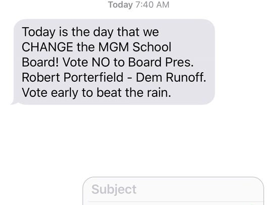 A text message sent to residents within District 6