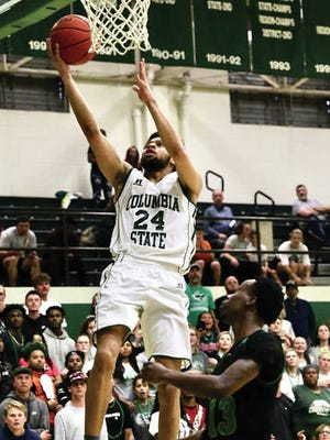 Jayden Lockett scores on a layup for Columbia State during Tuesday's TCCAA/Region VII tournament championship game. Lockett finished with 17 points and was named tourney MVP as the Chargers defeated Jackson State 81-73 in overtime.