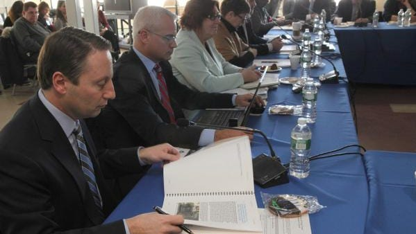 Members of the Tappan Zee Mass Transit Task Force, including Westchester County Executive Robert Astorino, left, meet in Tarrytown on Feb. 28, 2014 to discuss its final report.