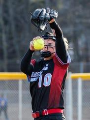 Arrowhead pitcher Mimi Bradley (10) winds up during