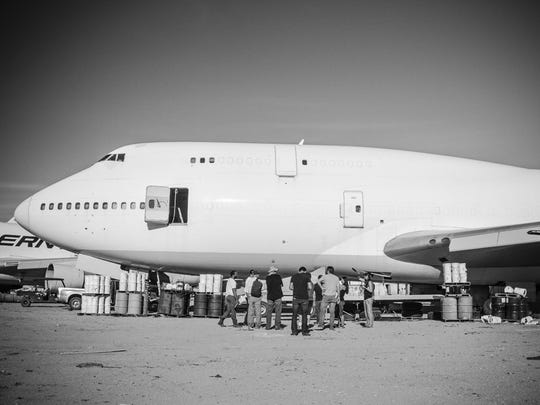 A plane pictured in the Mojave Desert could be the one that the Big Imagination Foundation brings to the Black Rock Desert for Burning Man this year.