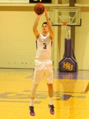 Hardin-Simmons guard Caleb Spoon shoots a 3 during