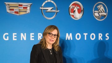 General Motors CEO Mary Barra announces Tuesday, January 10, 2017 that the company expects its 2017 earnings per share (EPS) diluted-adjusted to increase to $6.00-$6.50, up from its 2016 calendar-year outlook of $5.50-$6.00, during a briefing with media at the GM Global Headquarters in Detroit, Michigan.