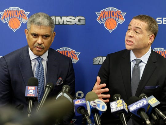 New York Knicks' general manager Scott Perry, right,