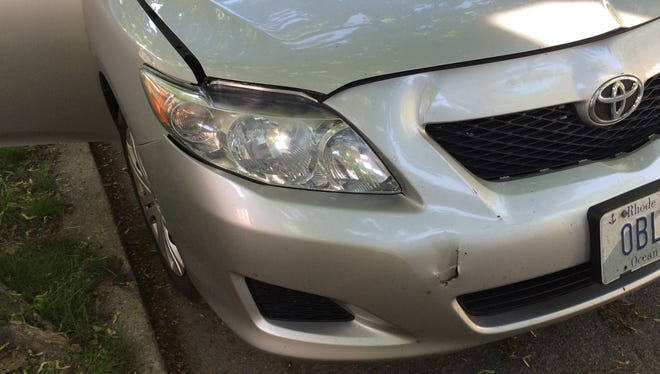 The damage to Robert Ruginis' 2010 Toyota Corolla that he alleges was due to slow-speed unintended acceleration