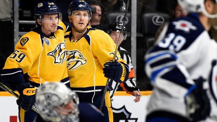 Predators forward Colin Wilson will return from a one-month absence Tuesday against the Capitals.