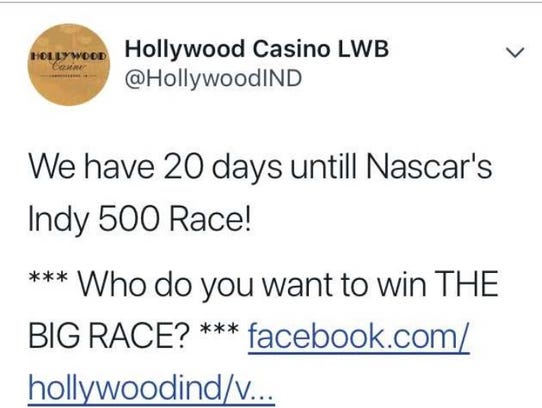 Hollywood Casino Lawrenceburg sent out a tweet Monday