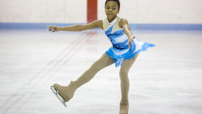 Kendyll Martin, for the New Edge Figure Skating Club in Royal Oak, performs during the Edith Schoenrock International Figure Skating Competition Saturday, Feb. 6, 2016 at Glacier Pointe in Port Huron Township.