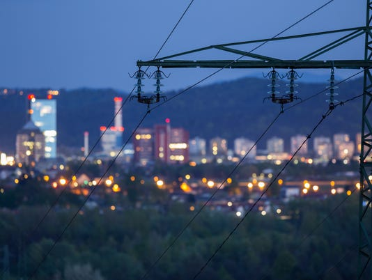 High power electricty grid powering the city